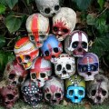 Picture of colorful tiki skulls for halloween decor
