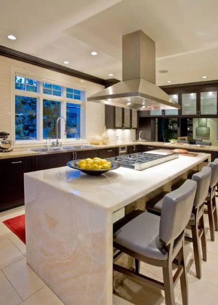 modern waterfall kitchen island countertop 32 Trendy And Chic Waterfall Countertop Ideas - DigsDigs