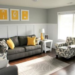 Grey Yellow Living Room Design Home Theater Pictures 29 Stylish And Decor Ideas Digsdigs Charcoal Sofa Chair Pillows Art Pieces