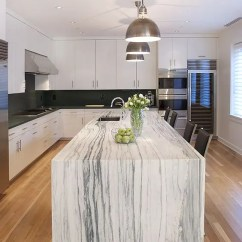 White Kitchen Cabinets And Backsplash Changing Hinges On 32 Trendy Chic Waterfall Countertop Ideas - Digsdigs