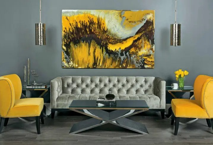 grey yellow living room small leather chairs 29 stylish and decor ideas digsdigs refined in shades looks bolder with a painting