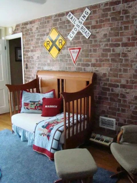 Modern Nursery Wallpaper Girl 32 Edgy Brick Walls Ideas For Kids Rooms Digsdigs