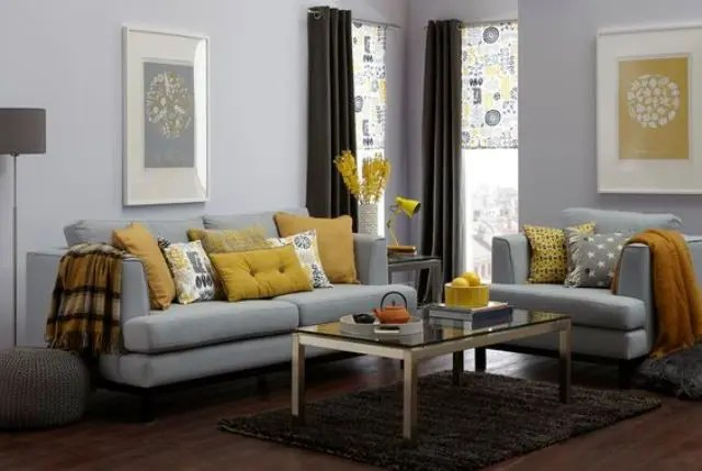grey and yellow living room decorating ideas pink chairs 29 stylish decor digsdigs make an accent in a using cushions lamps flowers