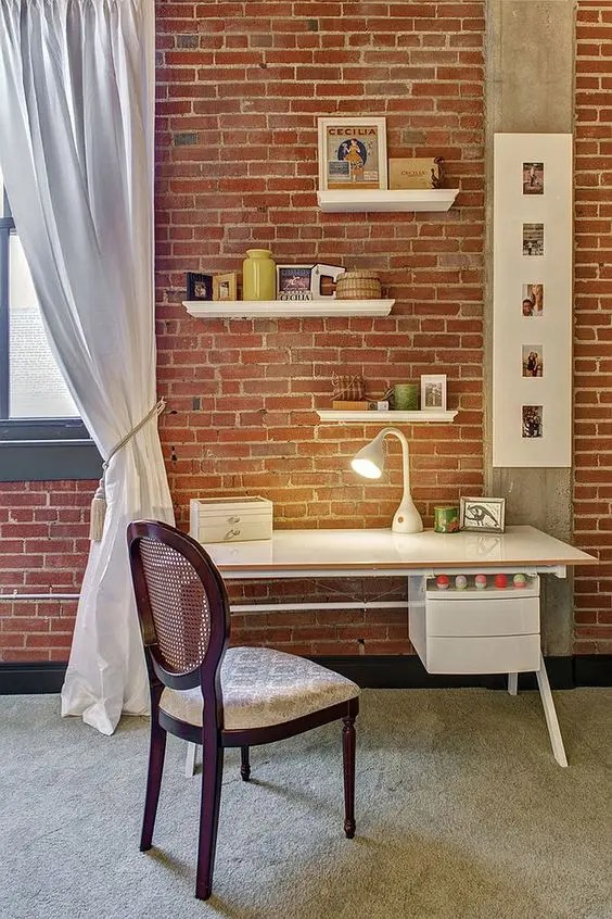 34 Home Office Designs With Exposed Brick Walls  DigsDigs