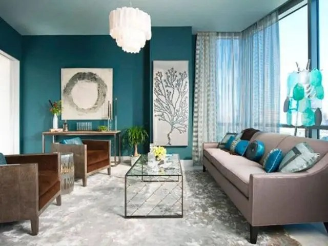 blue living room walls with brown furniture country style paint colors 26 cool and designs digsdigs a teal accent wall aqua accessories upholstered