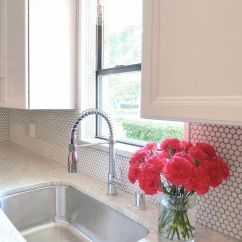 Blonde Kitchen Cabinets Making A Island From 28 Creative Penny Tiles Ideas For Kitchens - Digsdigs
