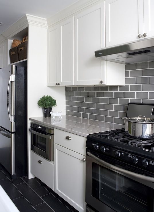 subway tile for kitchen mid century cabinets 35 ways to use tiles in the digsdigs modern white with grey a contrasting look