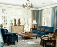 Navy Blue Brown Living Room