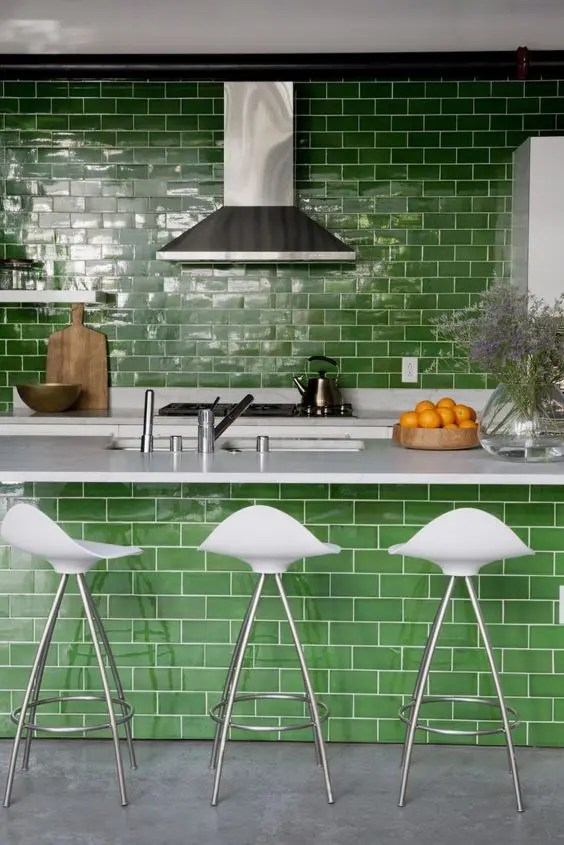 wood and glass kitchen cabinets with pantry cabinet 35 ways to use subway tiles in the - digsdigs
