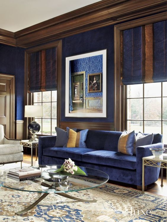 brown and grey living room ideas decorating for with corner fireplace 26 cool blue designs digsdigs royal rich creamy accents