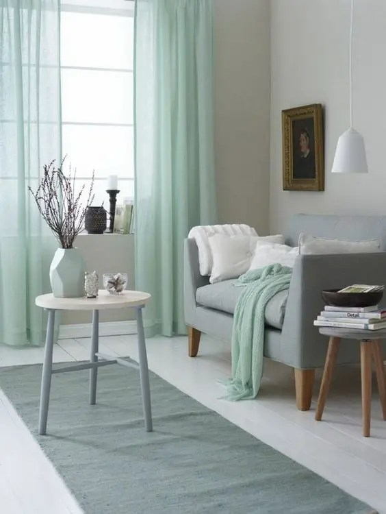 You can bring the room together by adding teal and grey. 30 Green And Grey Living Room Décor Ideas - DigsDigs