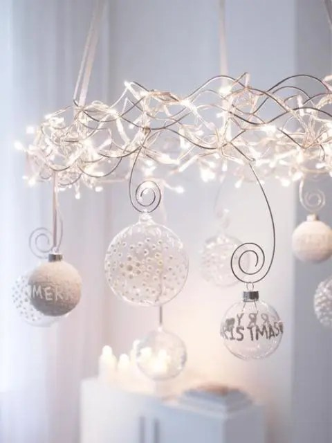 Christmas Lights Chandelier With Transpa And Wwhite Ornaments