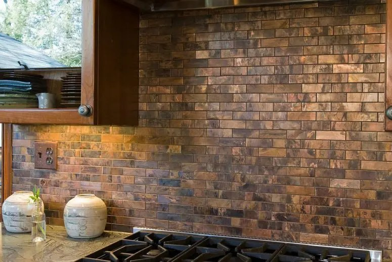 glass tiles for kitchen backsplash ikea remodel 27 trendy and chic copper backsplashes - digsdigs