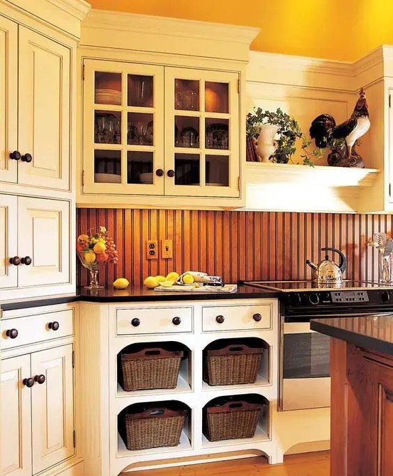 cleaning kitchen wood cabinets toddler play kitchens 25 beadboard backsplashes to add a cozy touch ...