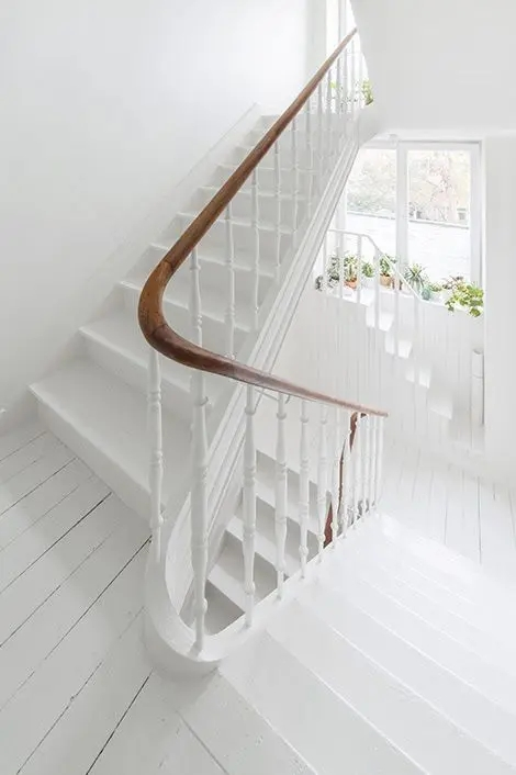30 Stylish Staircase Handrail Ideas To Get Inspired Digsdigs   White Handrails For Stairs Interior   Grey Treads   Safety   Richard Burbidge   Ship Lap   Aluminum