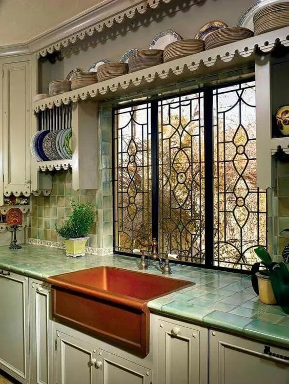 tile for kitchen countertops vintage chairs hot decor trend 24 digsdigs farmhouse with turquoise tiles on the