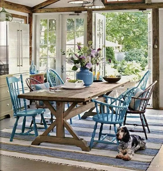 aqua sofa yellow sofas for sale 32 indoor picnic table ideas a relaxed feel - digsdigs