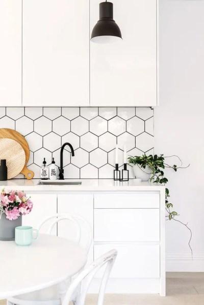 hexagon tile kitchen backsplash 36 Eye-Catchy Hexagon Tile Ideas For Kitchens - DigsDigs