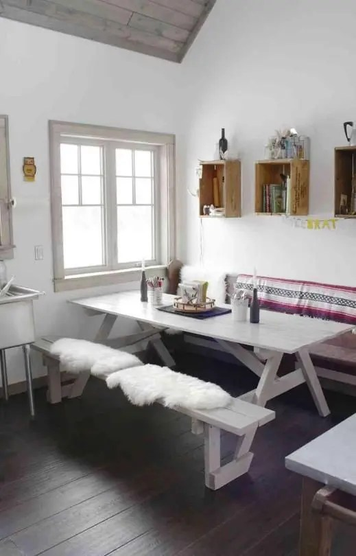 white upholstered chairs outdoor chair cushions sale 32 indoor picnic table ideas for a relaxed feel - digsdigs