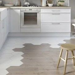 Tile Kitchen Glass Table Set 36 Eye Catchy Hexagon Ideas For Kitchens Digsdigs Hex Tiles Transitioning To Hardwood Dividing An Eating Zone And A