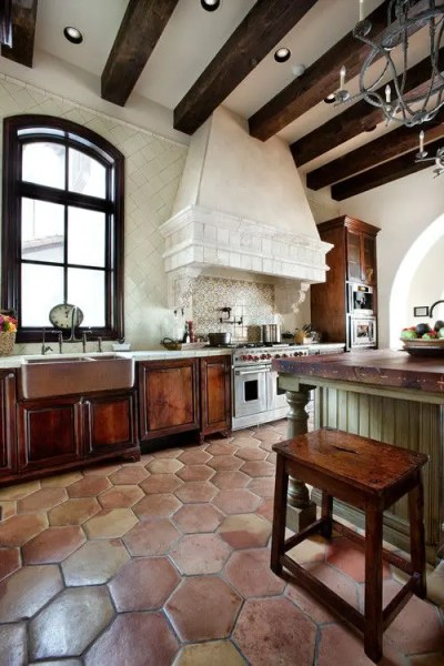 spanish style kitchen tiles floor ideas 36 Eye-Catchy Hexagon Tile Ideas For Kitchens - DigsDigs