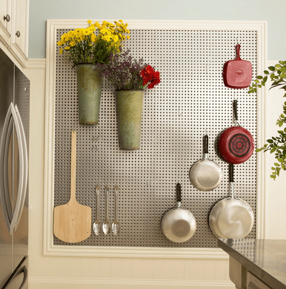 types of kitchen cabinets overstock faucets 32 smart and practical pegboard ideas for your home - digsdigs