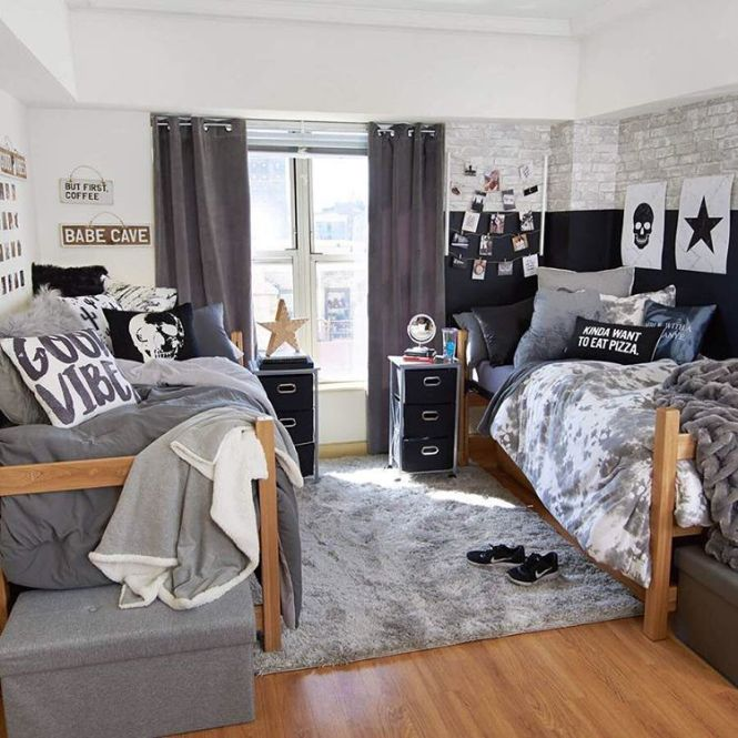 Boys Dorm Room In Black And Gray Tones Could Also Be Quite Stylish Via