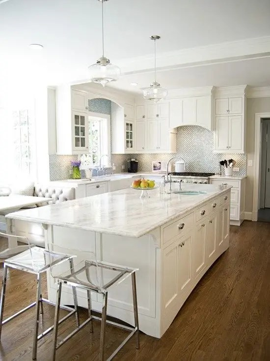 quartz kitchen countertops restaurant equipment 29 ideas with pros and cons digsdigs all white decor a silver backsplash counters for serene