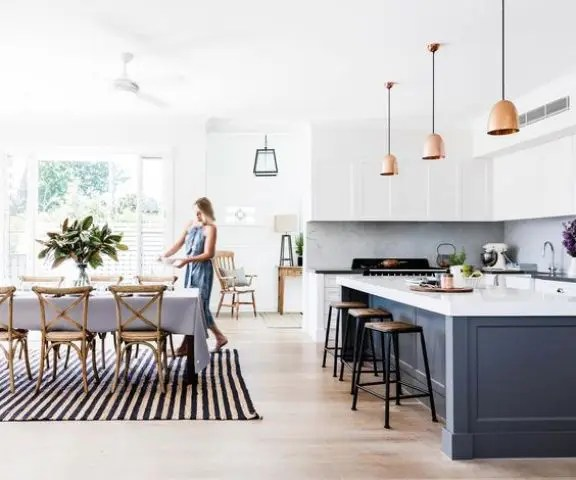 black and white striped chairs non toxic high chair 30 spacious airy open plan kitchen ideas - digsdigs