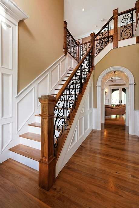 33 Wrought Iron Railing Ideas For Indoors And Outdoors | Wood And Metal Handrail | Interior | Iron Railing | Architectural Modern Wood Stair | Stainless Steel | Traditional