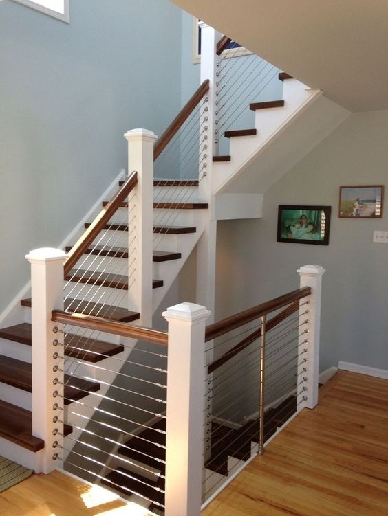 38 Edgy Cable Railing Ideas For Indoors And Outdoors Digsdigs | White Wood Stair Railing | Entryway Stair | Metal | Outdoor Stair | Baluster Curved Stylish Overview Stair | Glass