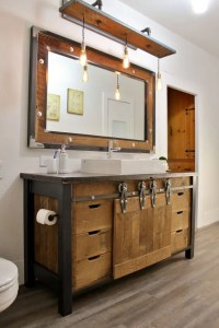 32 Trendy And Chic Industrial Bathroom Vanity Ideas - DigsDigs