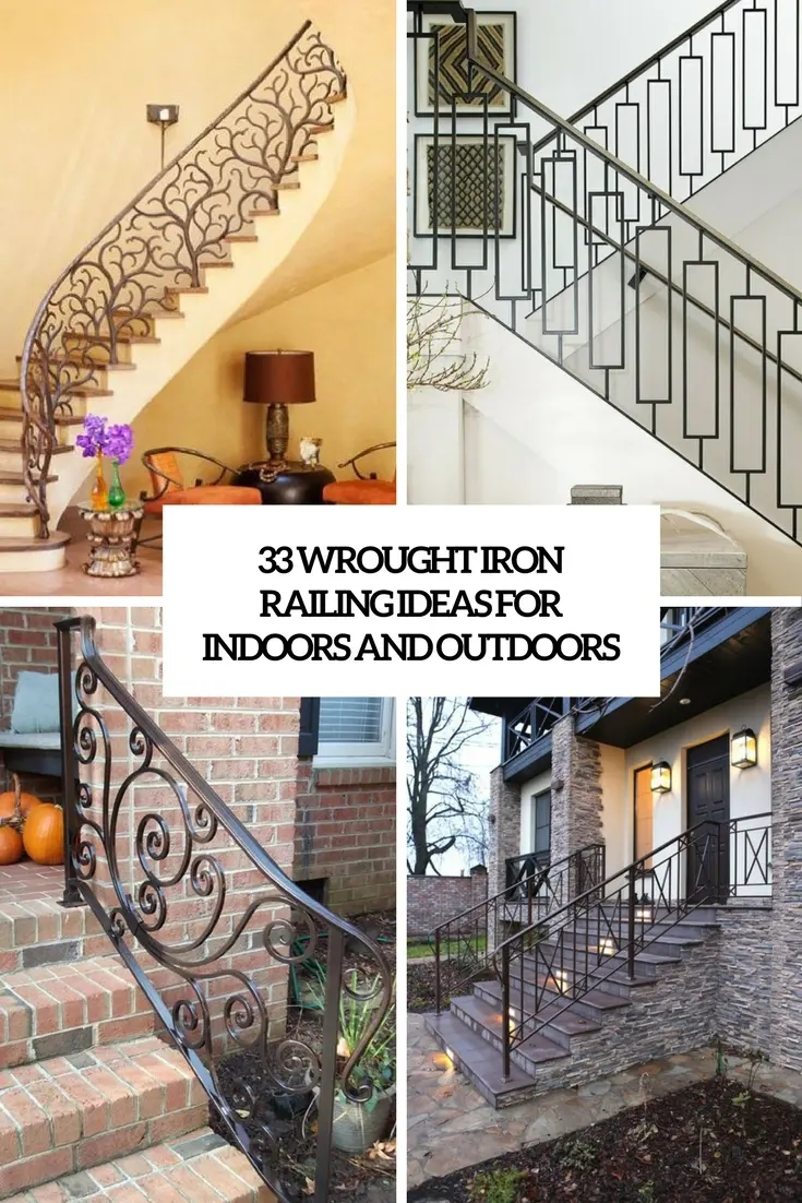 33 Wrought Iron Railing Ideas For Indoors And Outdoors | Simple Handrail For Outside Steps | Wrought Iron Railing | Concrete Steps | Wood | Deck Railing | Stair Railings