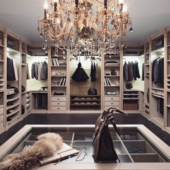 Any Closet Will Be More Refined With A Crystal Chandelier Black Details And Lot