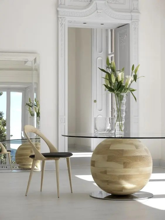 a glass dining table
