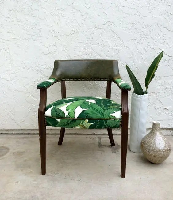 reupholster dining room chairs large chair cushions 30 stylish and timeless tropical leaf décor ideas - digsdigs