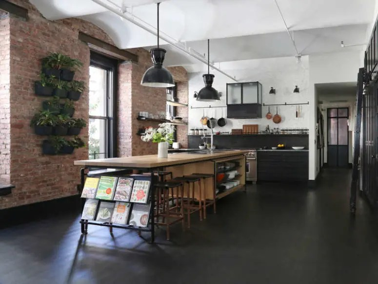 Industrial Loft With Exposed Brick Walls And Black Wood
