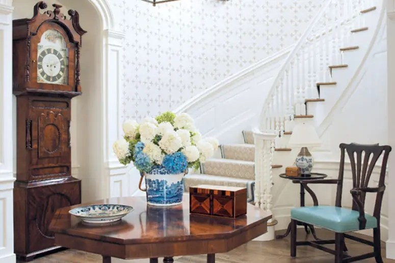 living room clocks next tall lamp tables for 29 ways to incorporate a grandfather s clock into decor digsdigs vintage polished wood perfectly fits traditional hallway and matches the furniture