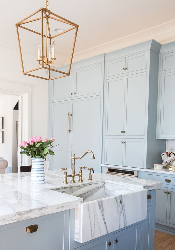 kitchen deco cabinet shelving 30 gorgeous blue decor ideas digsdigs serenity cabinets with white marble countertops and brass touches for a retro look