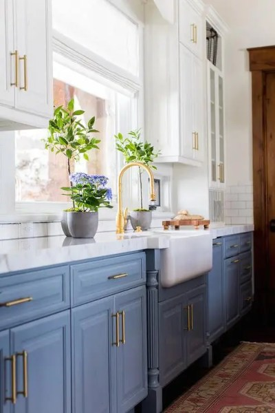 blue and white kitchen cabinet ideas 30 Gorgeous Blue Kitchen Decor Ideas - DigsDigs
