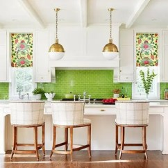 Green Kitchen Decor Ikea Set 30 Ideas That Inspire Digsdigs A Neutral Is Spurced Up With Colorful Roman Shades And Bold Tile Backsplash