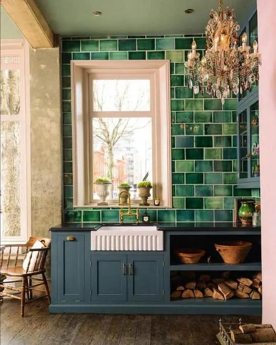 green kitchen tile backsplash