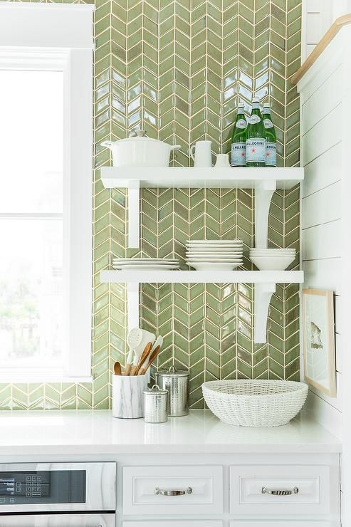 green kitchen decor cutler and bath 30 ideas that inspire digsdigs white cabinets are paired with quartz countertops a ceiling height herringbone tiled backsplash