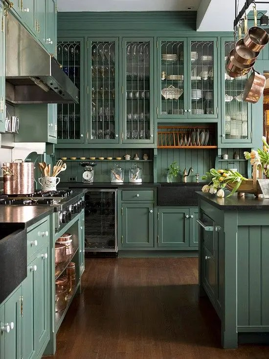 green kitchen decor range reviews 30 ideas that inspire digsdigs victorian style done in analogous color theme looks refined and chic though a bit moody