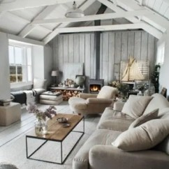 Wood Wall Living Room Cheap Cabinets 25 Inviting Rooms With Walls Digsdigs A Summer House Grey Wooden And White Sloped Ceiling For