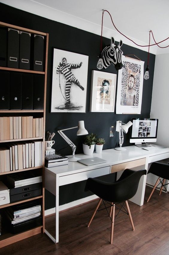 25 Gorgeous Home Offices With Black Walls  DigsDigs