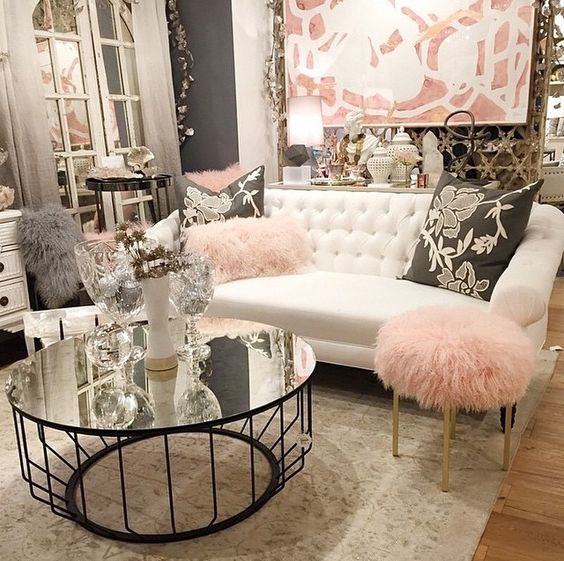pink glam living room decor 25 Swoon-Worthy Glam Living Room Decor Ideas - DigsDigs