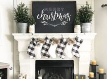 black and white is an ideal color combo for farmhouse Christmas decor, checked stockings and no decor trees