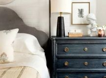 a black vintage dresser will add texture and interest to the space, and if it contrasts it, it will make a statement