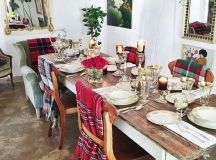 cover the chairs with plaid blankets to make all the guests feel cozy and warm